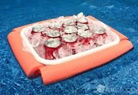diy pool noodle floating cooler sunguard
