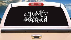 Amazon Com Just Married Wedding Wedding Day Vinyl Decal Sticker Design Pick Color For Car Windows And More Handmade