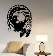 Native American Eagle Wall Decal Vinyl Sticker Bird Of Prey Etsy