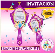 Princesas Tipo Espejo Invitaciones Y O Recuerditos Bs 3 00 En