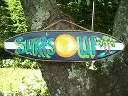 Surf S Up Tropical Decorative Surfboard Art Decor Kids Room Sign Plaque Ebay