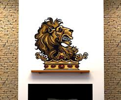 Medieval Lion Vinyl Wall Decal Medievallionuscolor003 Contemporary Wall Decals By Vinyl Disorder Inc