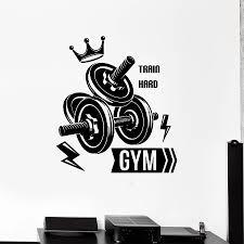 Fitness Club Wall Decal Sport Gym Dumbbells Bodybuilding Train Hard Interior Decoration Vinyl Door Window Sticker Art Mural M141 Leather Bag