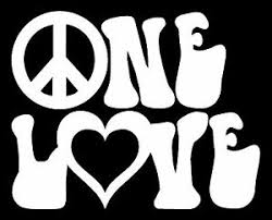One Love Vinyl Decal Sticker Car Window Wall Bumper Peace Symbol Heart Reggae Ebay