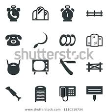 Black Vector Icon Set Farm Fence Stock Vector Royalty Free 1110219734 Shutterstock
