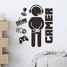 Amazon Com Gamer Wall Decals Creative Video Game Wall Stickers For Boy Bedroom Kids Room Playroom Home Wall Decoration Gamer Kitchen Dining