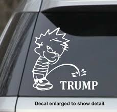 Calvin Peeing On Donald Trump Car Decal Sticker White For Sale Online Ebay