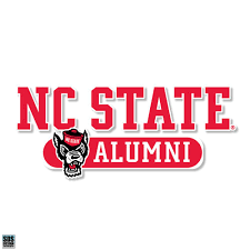 Nc State Wolfpack Alumni Text Wolfhead Vinyl Decal Red And White Shop