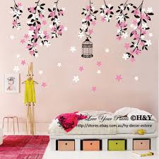 Colour Vine Flowers Wall Sticker Vinyl Decal Kid Nursery Baby Decor Custom Name Ebay