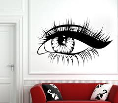 Eyelash Decals Wall Decal Window Sticker Beauty Salon Woman Face Eyelashes Lashes Eyebrows Brows 4006