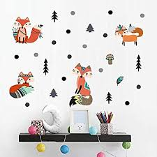 Amazon Com Fox Wall Decal H2mtool Removable Forest Animal Wall Stickers For Kids Room Decor Fox Forest Arts Crafts Sewing