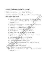quotes about family relationship esl worksheet by toumia