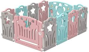 Amazon Com Baby Playpen With 12 Colorful Panels Toddler Child Safety Gates Fence Indoor Outdoor Play Area Infants Guardrail Crawling Activity Center Home Kitchen