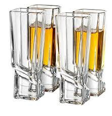 joyjolt carre shot glasses square heavy