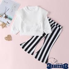 Set áo thun ngắn tay cổ tròn + Quần dài sọc vằn thời trang cho bé ...
