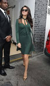 Selena Gomez Leggy in Green Dress -01   GotCeleb