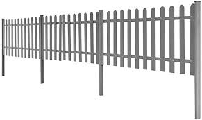 Vidaxl Wpc Picket Fence With Posts 3 Pcs 6 M Long 80 Cm High Grey Barrier Amazon Co Uk Kitchen Home