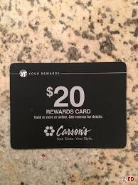 carson s rewards card a 20 reward