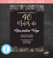 40 Anos De Spanish 40th Birthday Invitation Invitacion Black And Gold Glitter Template 2 Size Options 5 X 7 4 X 6 Edit Yourself Invitaciones Tarjetas Invitacion Cumpleanos Invitaciones De Cumpleanos