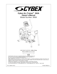 cybex arc trainer 360a owner s manual