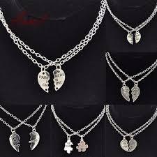 fashion best friends love heart pendant