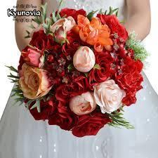 Kyunovia الزفاف الزهور باقة الزفاف باقة ورود حمراء اكسسوارات