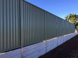 Recently Completed Northbond Colourbond Fencing And Concrete Sleeper Retaining Wall At Aspl Fence Design Garden Retaining Wall Concrete Sleeper Retaining Walls
