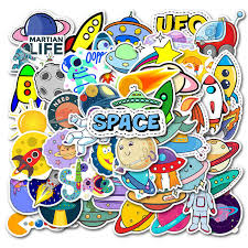 50pcs Pack Cartoon Aircraft Stickers Air Balloon Airplane Rockets Ufo Decals Stickers For Car Laptop Skateboard Suitcase Sticker Aliexpress