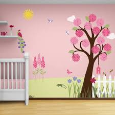 Girls Wall Decor Flower Garden Theme Wall Mural Wall Stencils For Decorating A Girls Room Amazon Co Uk Kitchen Home