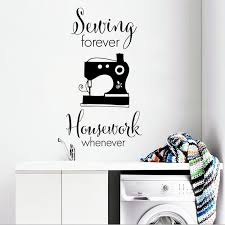 Sewing Quilting Wall Sticker Sewing Forever Quote Vinyl Wall Decal Creative Cloth Shop Decor Sewing Studio Wall Art Mural Ay1473 Wall Stickers Aliexpress