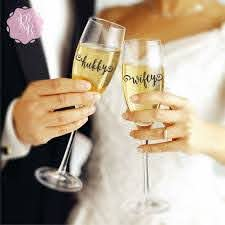 Wedding Champagne Flute Decals Hubby Wifey Wedding Decal Etsy