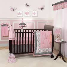 pink and gray baby girl crib bedding