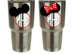 Monogram Mickey Minnie Vinyl Decal For Yeti Cup Tumbler Set Of 2 Decals Decals For Yeti Cups Yeti Cup Vinyl Decals