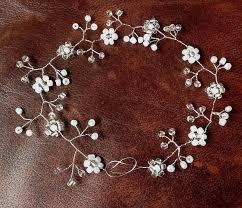 wedding hair vine pearls silver tiara