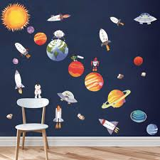 9 Planet Outer Space Wall Sticker Kids Bedroom Mural Decals Solar System Decor Ebay