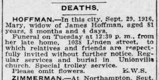 Mary (Polly) Hoffman (nee Peter), death notice - Newspapers.com