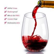 4 pcs stemless transpa wine glass