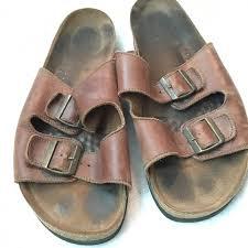landsends brown leather mens sandals