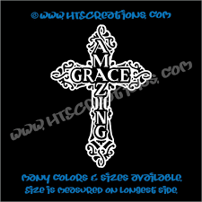 Celtic Cross Irish Ireland Religious Church Amazing Grace Vinyl Decal