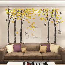 Tall Birch Tree Wall Art Sticker Large Size Tree Wall Decal Falling Leaves Wall Murals Natural Tree Wallpaper Vinyl Art Ac206 Wall Stickers Aliexpress