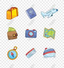 cartoon travel icon vector material