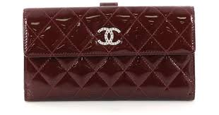 chanel patent leather wallet in red lyst