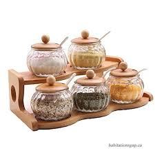 glass jar bottles wooden spice rack set