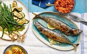 Whole grilled mackerel with barbecued ...