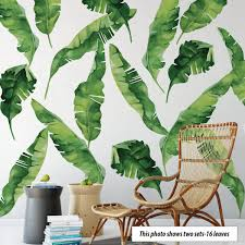 8 Large Banana Leaves Wall Decals Eco Friendly Matte Fabric Tropical