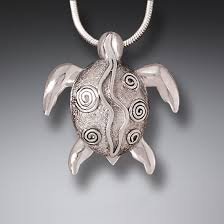 silver sea turtle pendant necklace