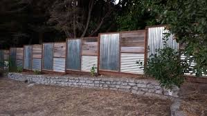 My New Fence Utilizing Corrugated Metal And Repurposed Redwood From The Old Fence Metal Fence Panels Fence Design Corrugated Metal Fence
