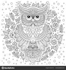 Coloring Book Adult Older Children Coloring Page Cute Owl Floral