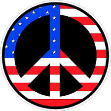 American Flag Peace Sign Black Background Sticker At Sticker Shoppe
