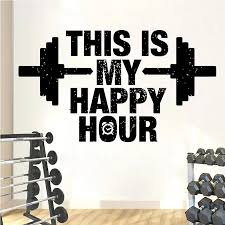 This Is My Happy Hour Fitness Wall Decal Gym Quote Vinyl Wall Sticker Workout Bodybuilding Bedroom Removable House Decor S173 Wall Stickers Aliexpress